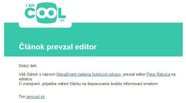 Text mailu - prevzatie článku editorom